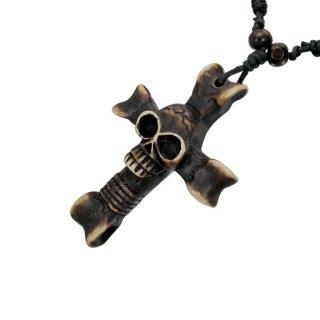 Pendentif croix en os avec crane