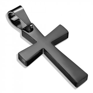 Pendentif croix petite latine en acier noir IP