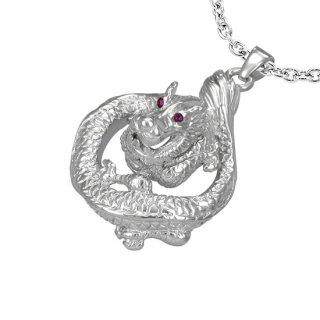 Pendentif dragon acier aux yeux sertis