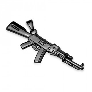 Pendentif fusil semi-automatique en acier noir