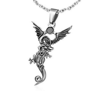 Pendentif gothique dragon ailé noirci