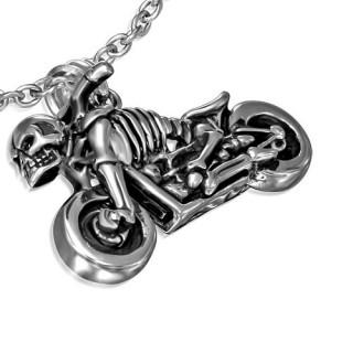 Pendentif gothique moto et squelettes fusionnés
