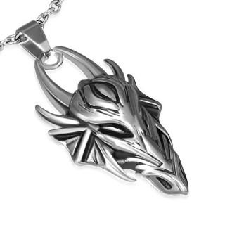 Pendentif gothique tête de dragon à cornes