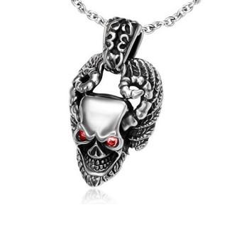 Pendentif gothique tête de mort cornue