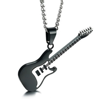 Pendentif guitare électrique en acier noir et silver