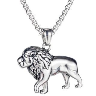 Pendentif homme Lion royal en acier