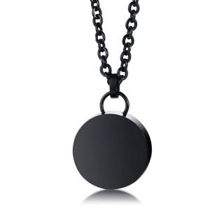 Pendentif médaillon rond acier noir dévissable (urne)