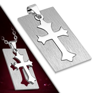 Pendentif petite plaque acier à croix fleur de lys