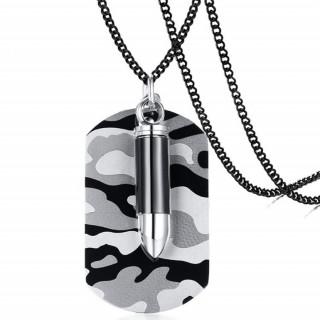 Pendentif plaque militaire acier camouflage avec balle creuse (+chaine)