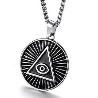 Pendentif rond à pyramide illuminati en acier