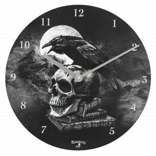 Pendule murale à corbeau sur sur crane humain - Alchemy