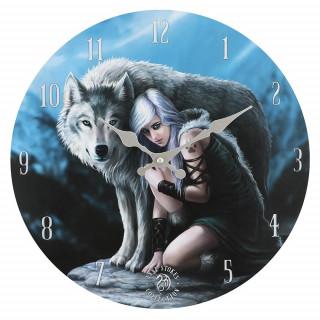 """Pendule murale à femme et loup """"Protector"""" - Anne Stokes"""