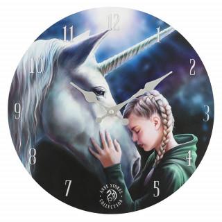 Pendule murale à fillette et licorne - Anne Stokes