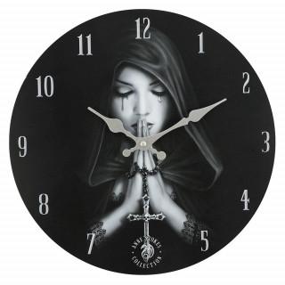 Pendule murale Gothic Prayer à femme vêtue de noir en prière - Anne Stokes