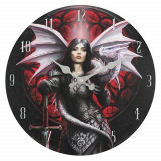 Pendule murale à guerrière aux dragons - Anne Stokes