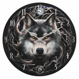 Pendule murale à loup et branchages - Anne Stokes