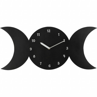 Pendule murale noire triple lune - Something Different