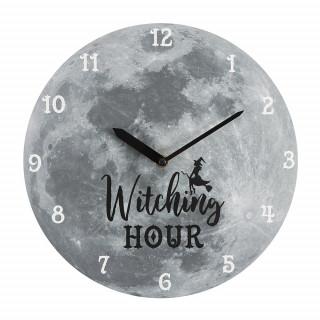 """Pendule murale pleine lune et sorcière """"Witching Hour"""""""