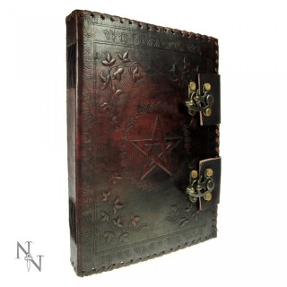 Grimoire / journal intime à pentagramme en cuir et papier ancien - (vierge) - (25cm x 19cm)