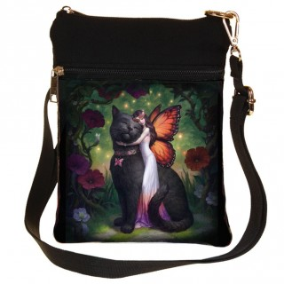 Petite sacoche bandoulière à chat noir et fée - James Ryman
