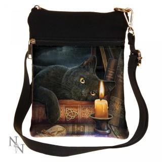 Petite sacoche bandoulière à chat noir et grimoire - Lisa Parker