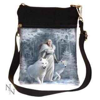 Petite sacoche bandoulière à jeune femme et loups blanc - Anne stokes