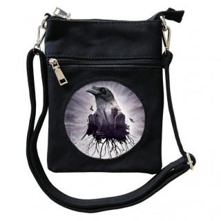 Petite sacoche à chemin de tombes et corbeau  - Achemy