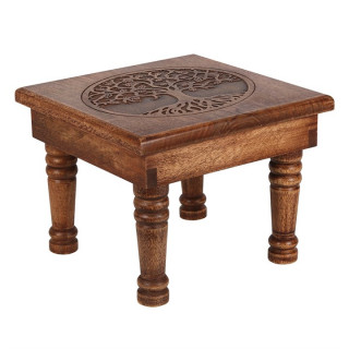Petite table / Autel en bois à arbre de vie gravé (bois de manguier)