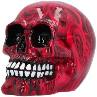 Petite tête de mort décorée de roses rouges (11cm)