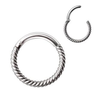 Piercing anneau aspect corde en acier à fermeture clips