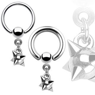 Piercing anneau captif avec pendentif boule de fléau