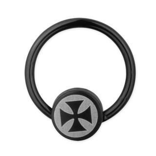 Piercing anneau captif ionisé noir avec croix de malte