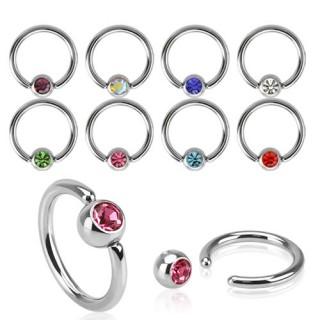 Piercing anneau CBR acier à boule sertie