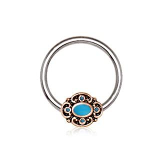 Piercing anneau CBR style baroque cuivré émaillé bleu