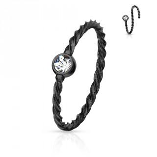 Piercing anneau fin acier torsadé à cristal - Noir