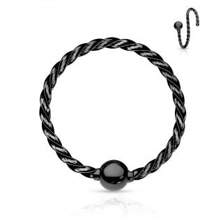 Piercing anneau fin acier torsadé - Noir