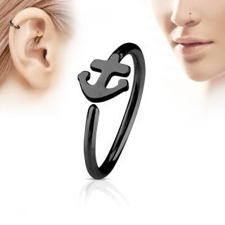 Piercing anneau nez / cartilage noir à ancre de marine