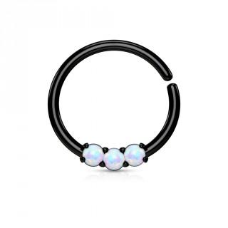 Piercing anneau noir serti de 3 opales claires