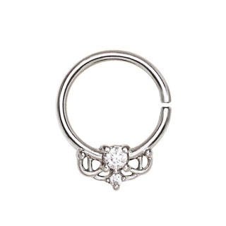 Piercing anneau vintage serti (septum, cartilage...)