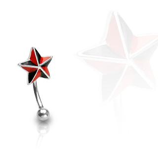 Piercing arcade étoile noire et rouge