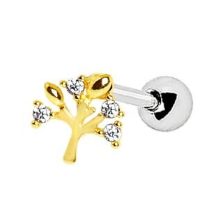Piercing barbell cartilage à arbre de vie doré serti