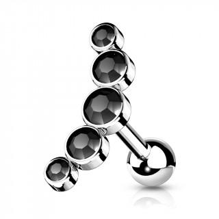 Piercing barbell cartilage à arc de 5 cristaux ronds - Noir