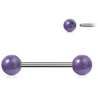 Piercing barbell à perles d'Améthyste (langue et téton)