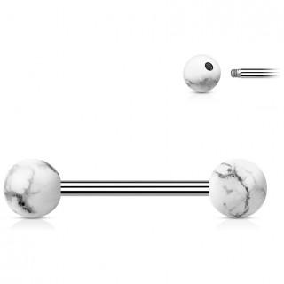 Piercing barbell à perles de Howlite Blanche (langue et téton)