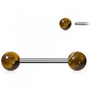 Piercing barbell à perles d'Oeil de Tigre (langue et téton)