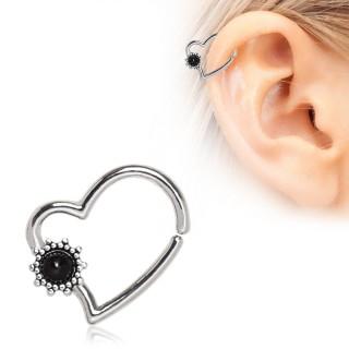 Piercing cartilage anneau coeur à petite fleur noire