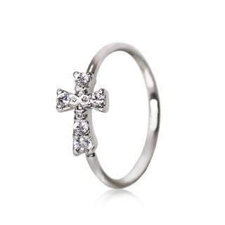 Piercing anneau croix strass