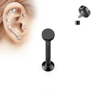 Piercing cartilage labret arrondi noir