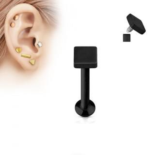Piercing cartilage labret carré noir