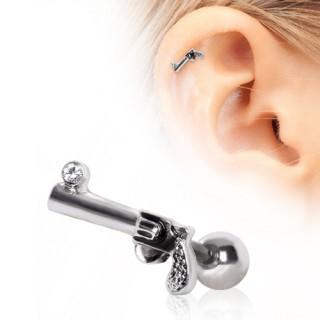 Piercing cartilage hélix à pistolet révolver serti
